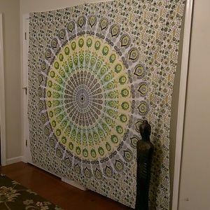 Green Blue Yellow White Mandala Wall Hanging